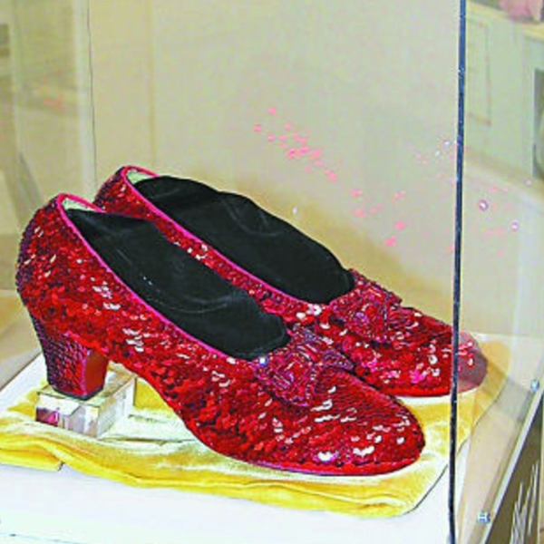 The ruby slippers stolen from the Judy Garland Museum in Grand Rapids, Minnesota are shown in a photo from the museum in Aug. 2005.
