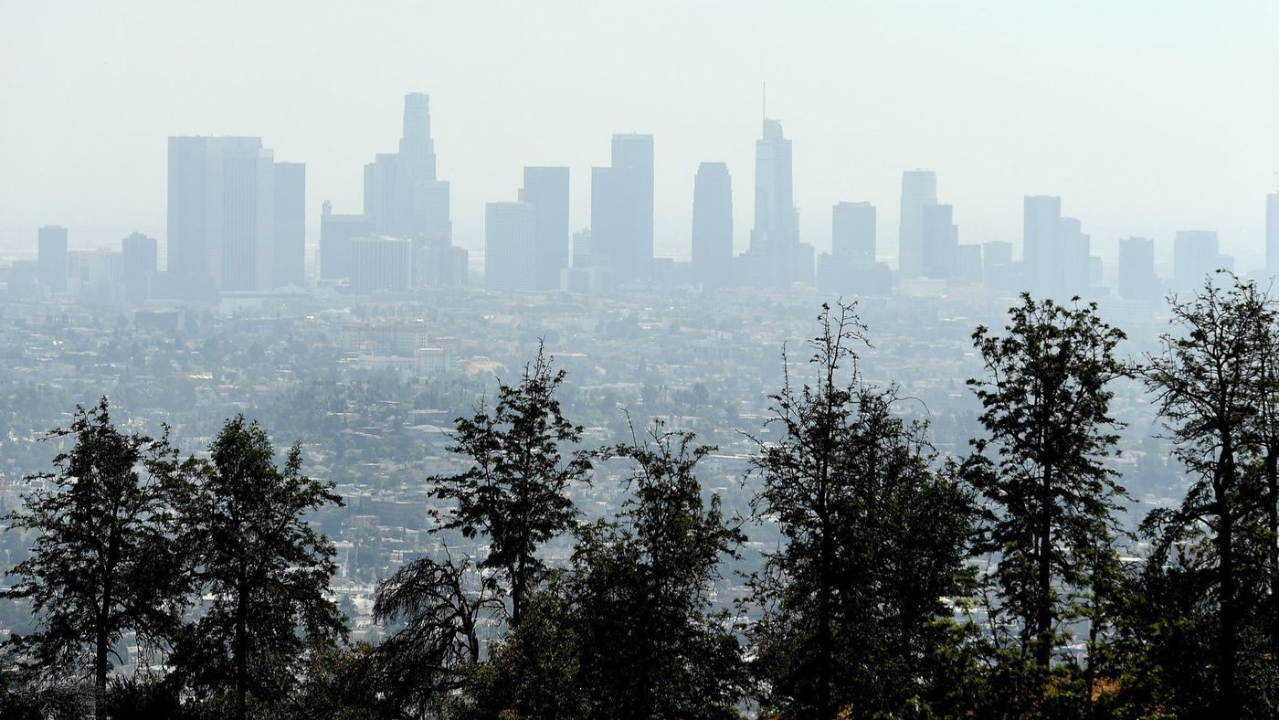 Smog is seen enveloping the downtown Los Angeles skyline in this undated photo. (Credit: Wally Skalij / Los Angeles Times)