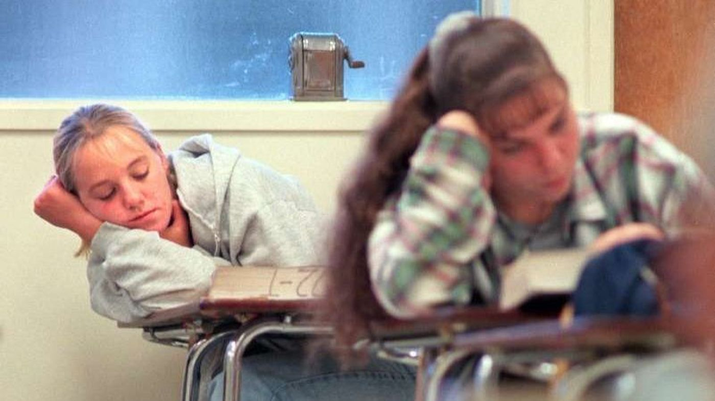 A student in Thousand Oaks dozes off in an early morning class in an undated photo. (Credit: Anne Cusack / Los Angeles Times)