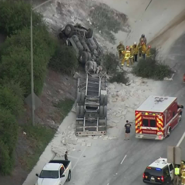 A crash involving a big rig on the 210 Freeway in Pasadena left one person dead on Sept. 11, 2018.