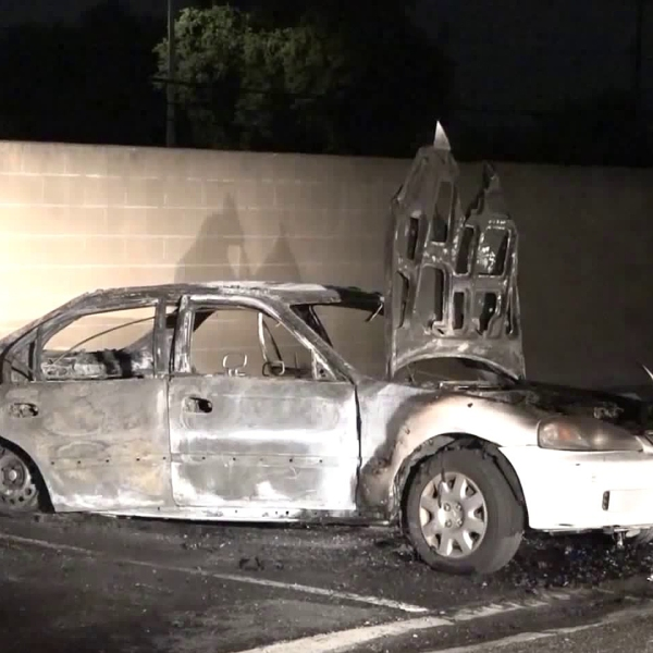 A body was found inside a burning vehicle in Westminster on Sept. 5, 2018. (Credit: OnScene.TV)