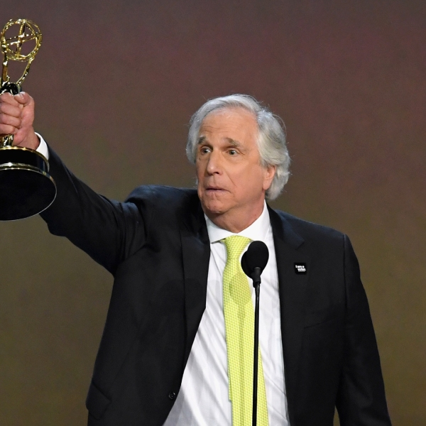 Henry Winkler accepts the Outstanding Supporting Actor in a Comedy Series award for 'Barry' onstage during the 70th Emmy Awards at Microsoft Theater on September 17, 2018 in Los Angeles, California. (Credit: Kevin Winter/Getty Images)