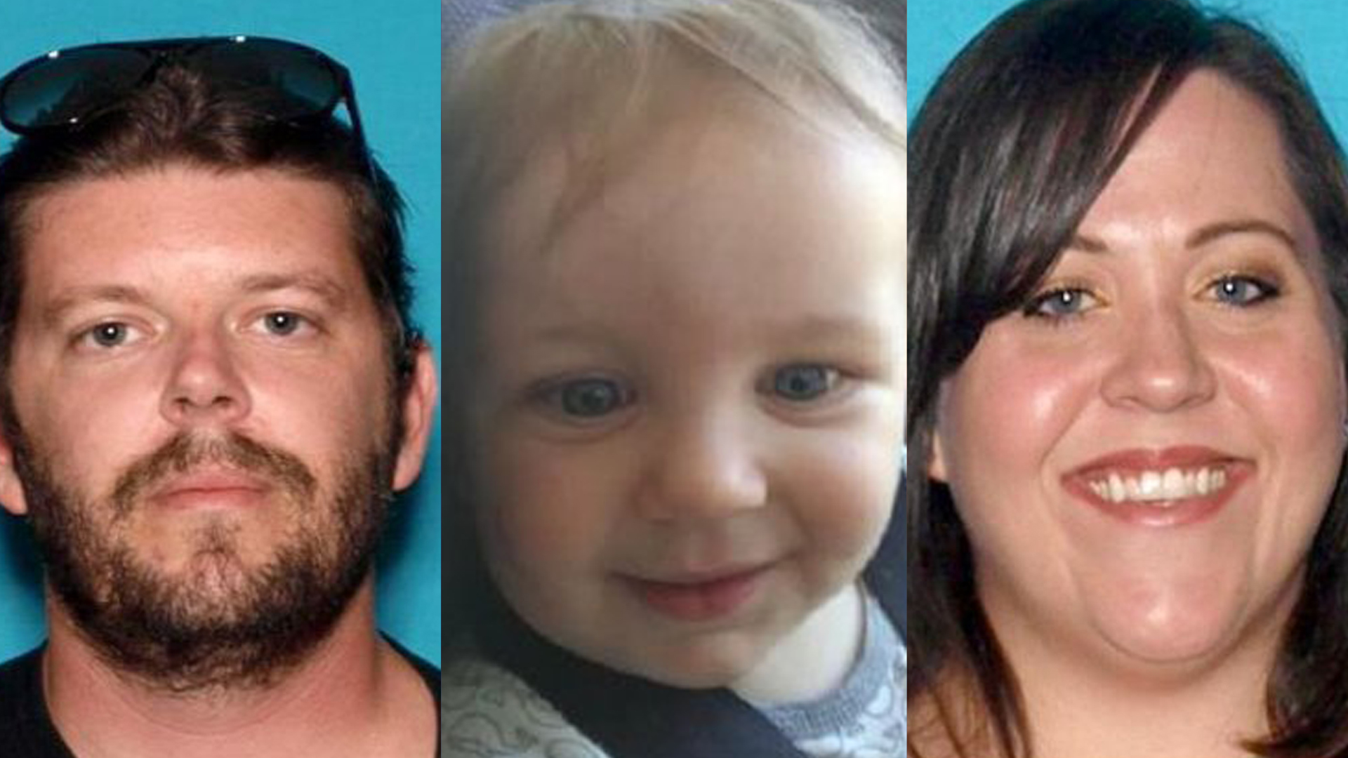 Brandon Alexander, seen left, is the suspect in an Amber Alert issued Oct. 27, 2018. The child and mother reported abducted are seen in the other photos. (Credit: Upland Police)