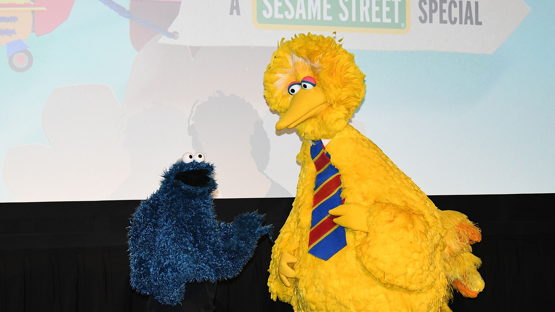 Sesame Street characters Big Bird and Cookie Monster attend HBO Premiere of Sesame Street's The Magical Wand Chase at the Metrograph on November 9, 2017 in New York City. (Credit: Slaven Vlasic/Getty Images for HBO)