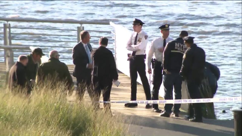 Police investigate after two bodies were recovered from the Hudson River in New York City. (Credit: WPIX)