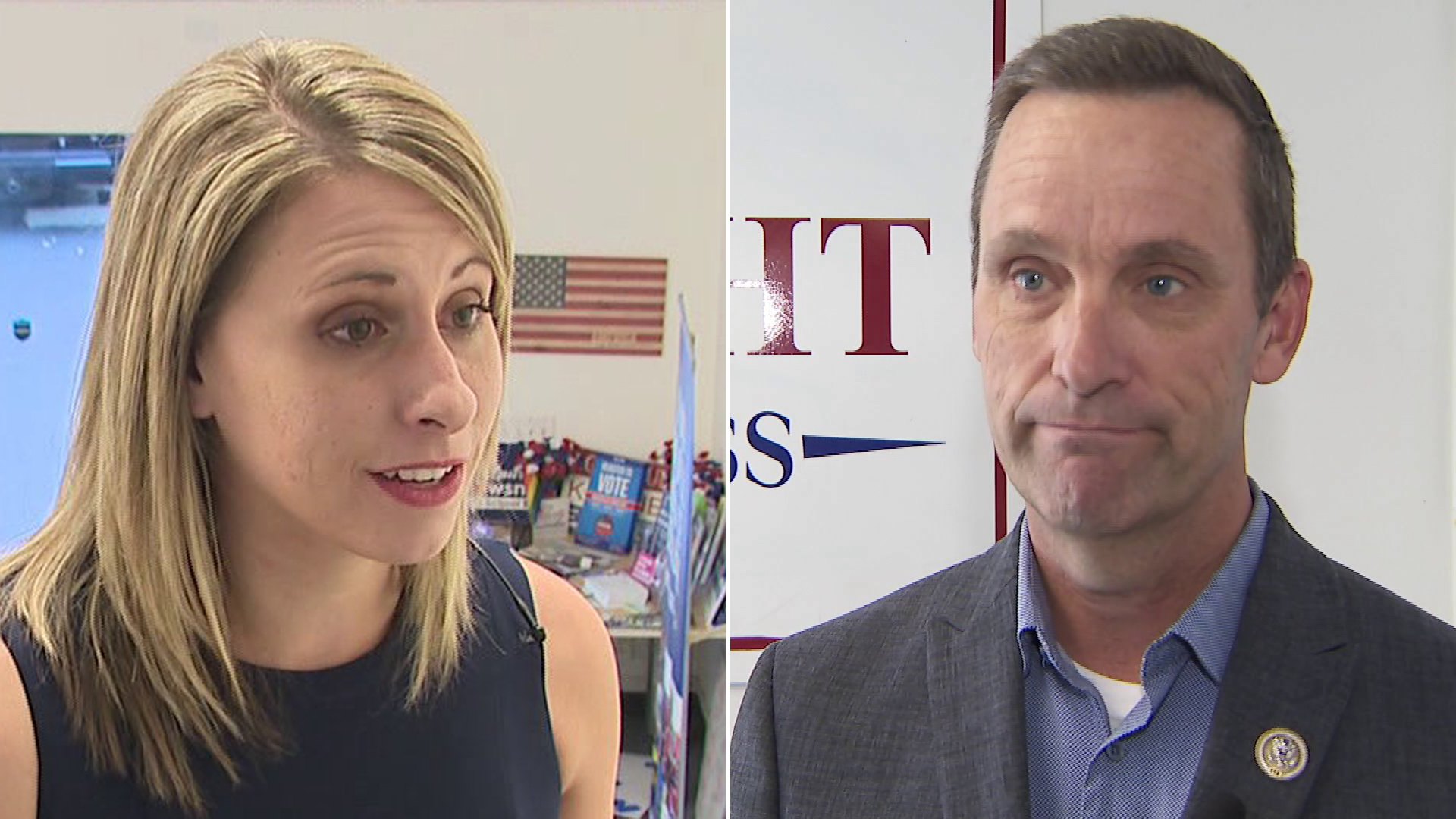 Katie Hill, left, and Steve Knight, speak about their campaigns in October 2018. (Credit: KTLA)