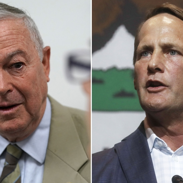 At left, incumbent GOP Rep. Dana Rohrabacher speaks to the media after leaving a Republican conference meeting on Capitol Hill, June 7, 2018. At right, Democratic congressional candidate Harley Rouda speaks at an election rally in Fullerton on Oct. 4, 2018. (Credit: Alex Wong / Mario Tama / Getty Images)