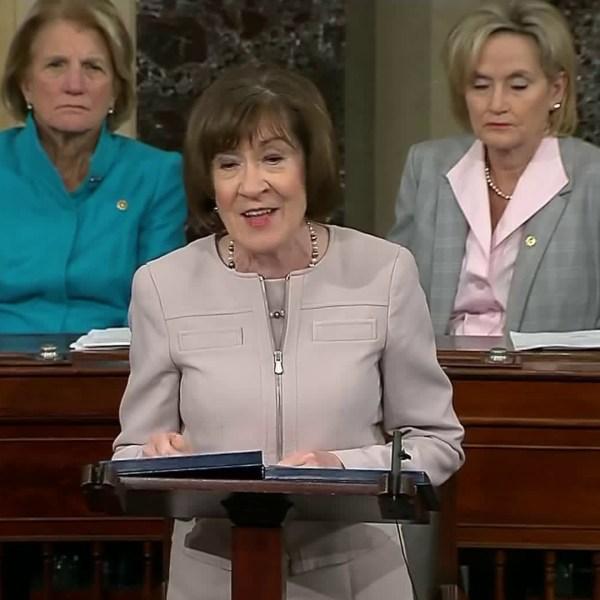 Senator Susan Collins announces her decision on the Kavanaugh confirmation vote on Oct. 5, 2018. (Credit: CNN)