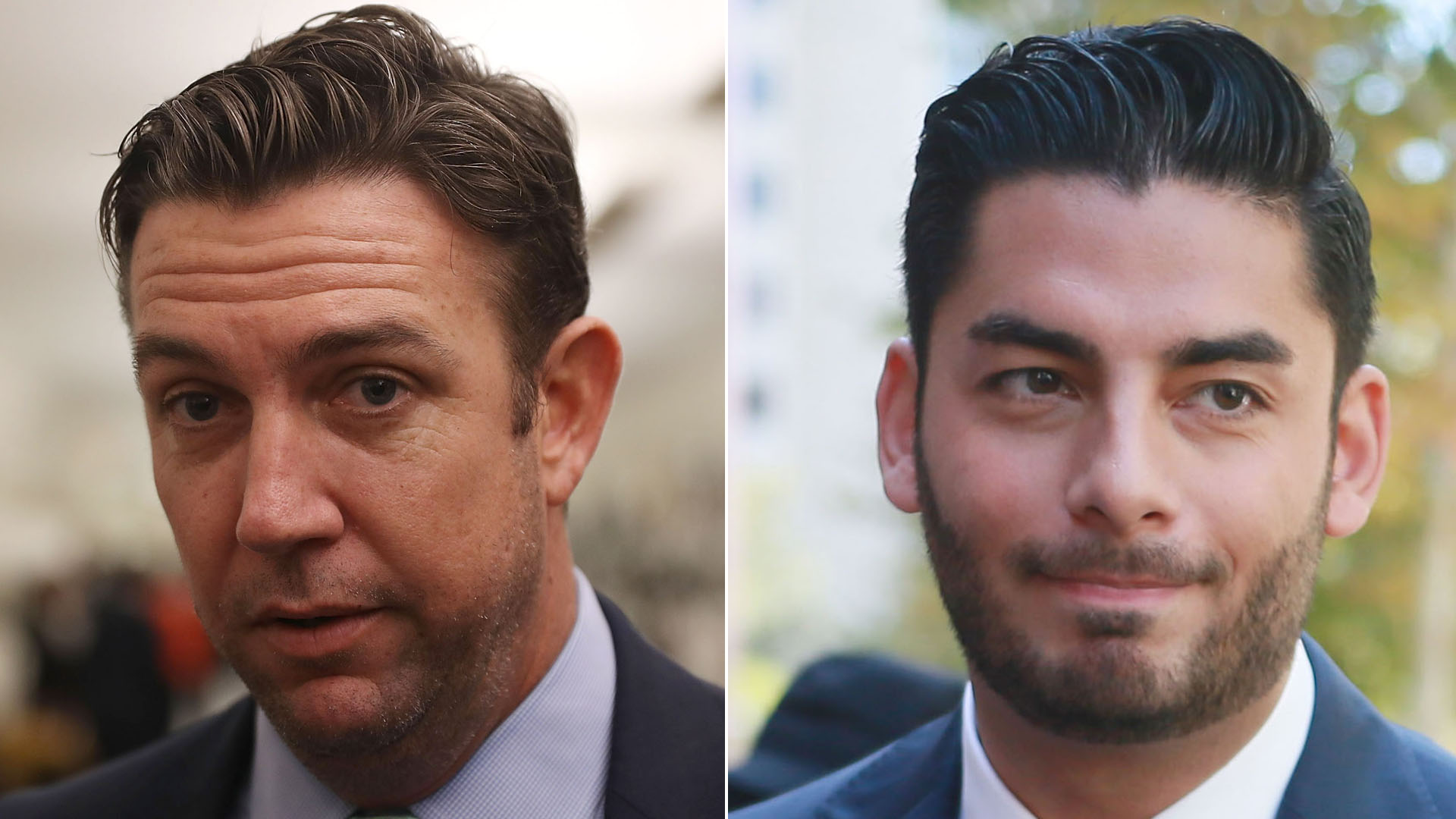 Duncan Hunter, left, speaks to reporters on Jan. 10, 2017 in Washington, D.C. Ammar Campa-Najjar, right, speaks to reporters outside the San Diego Federal Curthouse during Hunter's arraignment on Aug. 23, 2018. (Credit: Getty Images)