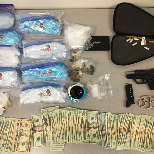 Deputies seized more than 7 pounds of methamphetamine, half a pound of heroin, a gun and cash from an AB 109 probationer in Santa Maria in Oct. 12, 2018. (Credit: Santa Barbara County Sheriff's Office)