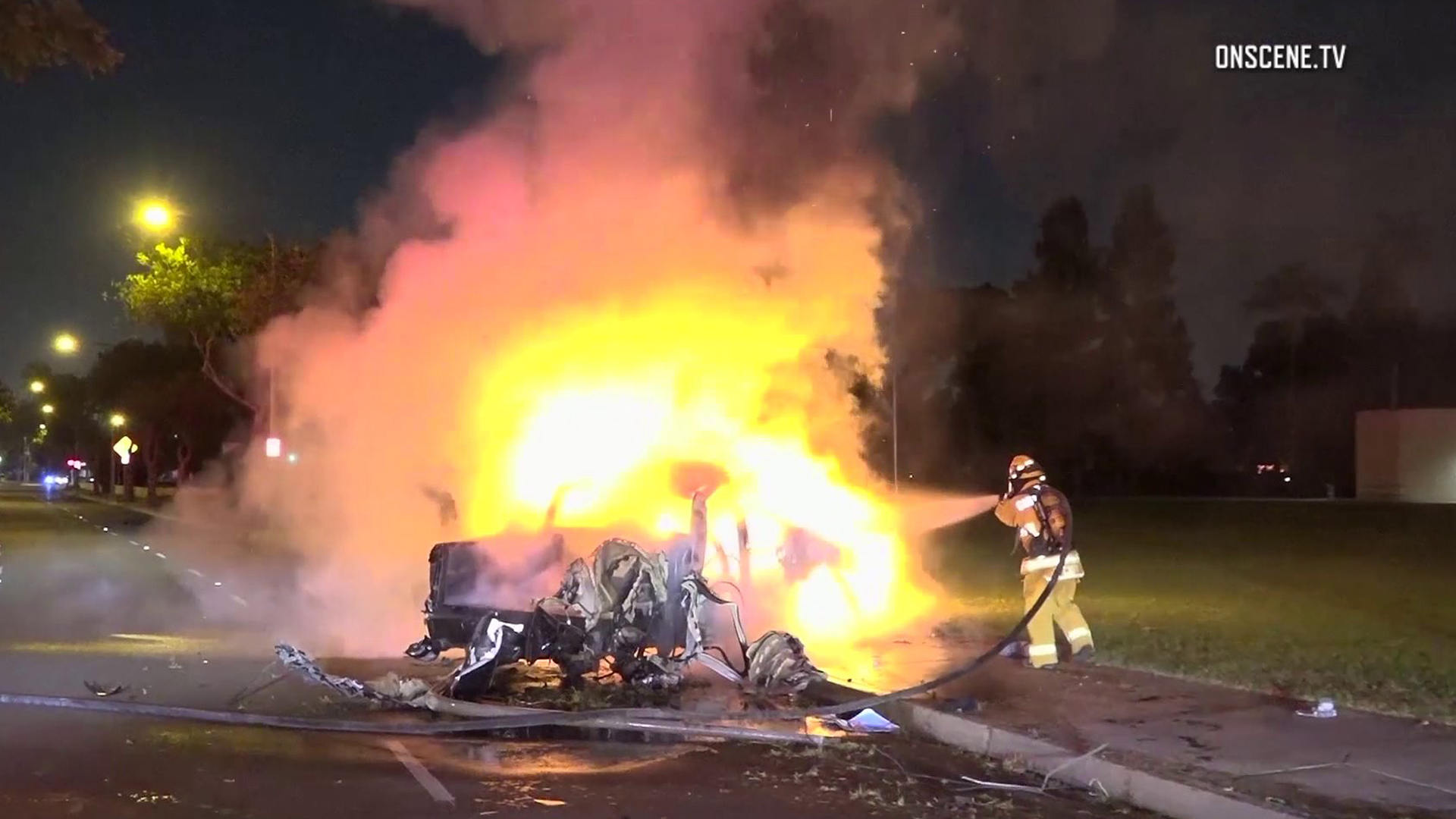 A car was engulfed in flames in Garden Grove on Oct. 23, 2018. (Credit: OnScene.TV)