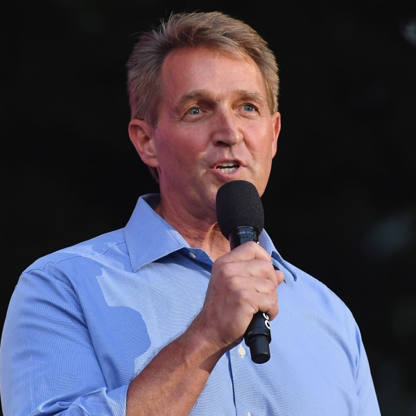 Sen. Jeff Flake speaks onstage during the 2018 Global Citizen Festival: Be The Generation in Central Park on September 29, 2018 in New York City. (Credit: ANGELA WEISS/AFP/Getty Images)