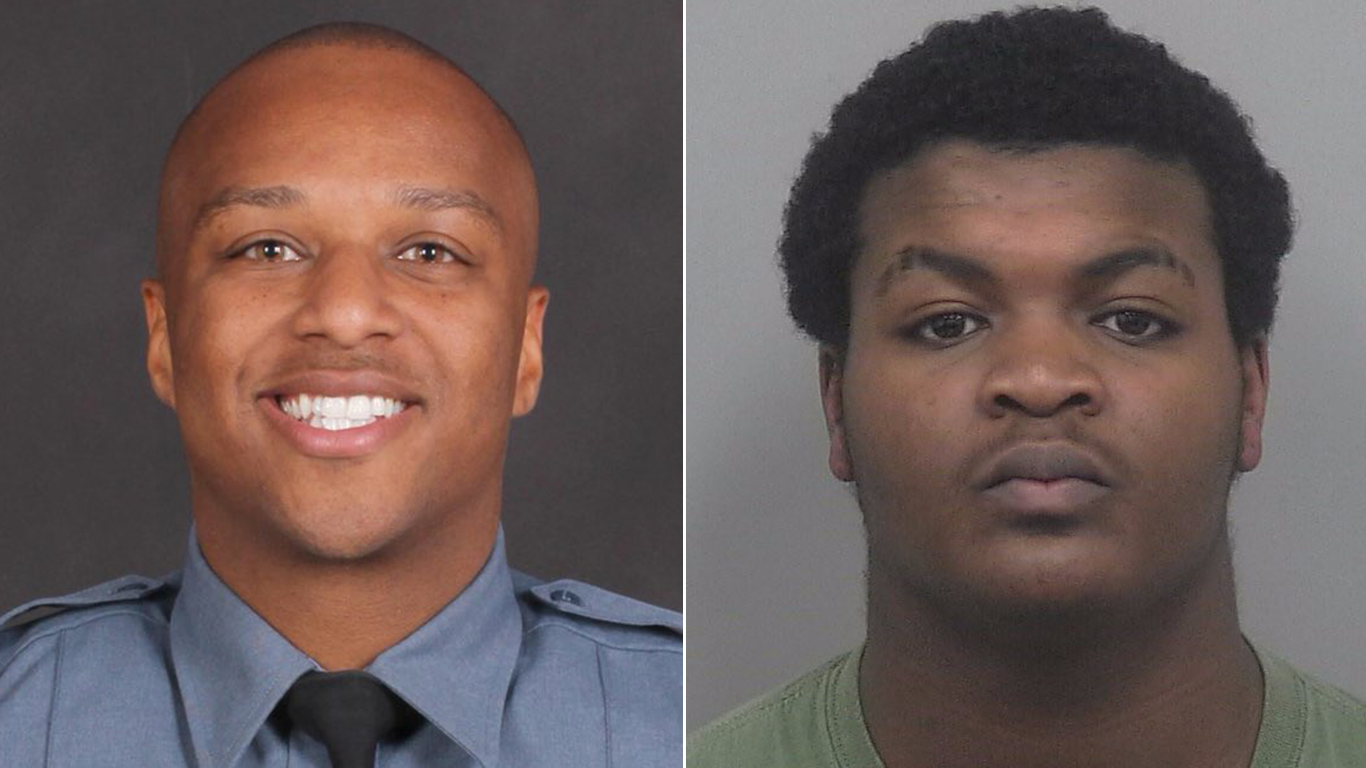 Officer Antwan Toney, left, and suspect Tafahree Maynard are shown in photos released by the Gwinnett Police Department in October 2018.