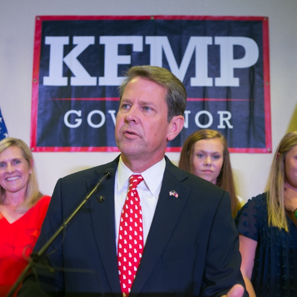 Brian Kemp addresses the audience and declares victory during an election watch party on July 24, 2018 in Athens, Georgia. (Credit: Jessica McGowan/Getty Images)