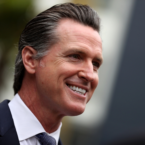 California Lt. Gov. and gubernatorial candidate Gavin Newsom looks on as he visits the Alice Griffith Apartments in San Francisco on Aug. 22, 2018. (Credit: Justin Sullivan / Getty Images)