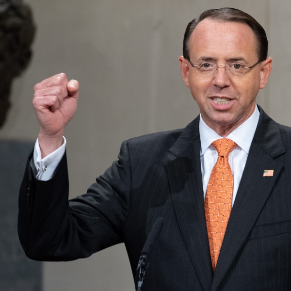 U.S. Deputy Attorney General Rod Rosenstein speaks during the Second Annual Attorney General's Award for Distinguished Service in Policing at the Department of Justice on Sept. 18, 2018. (Credit: Saul Loeb/AFP/Getty Images)