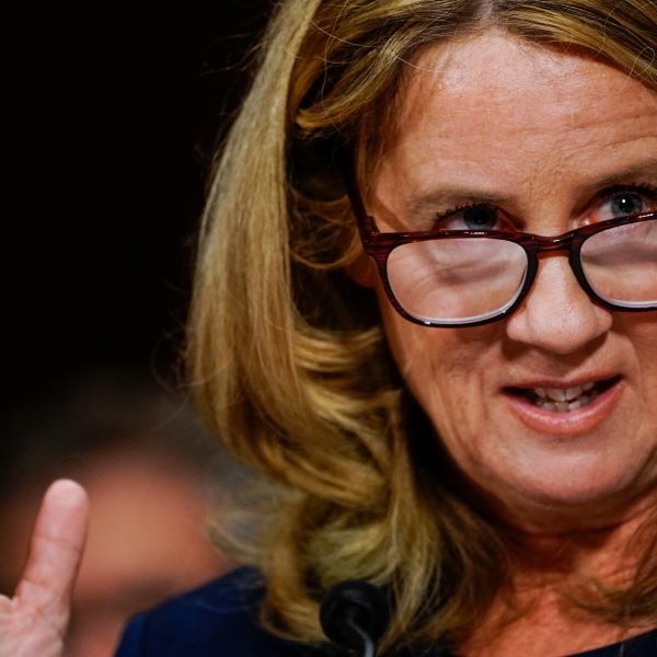Christine Blasey Ford, the woman accusing Supreme Court nominee Brett Kavanaugh of sexually assaulting her at a party 36 years ago, testifies before the US Senate Judiciary Committee on Capitol Hill in Washington, DC, September 27, 2018. (Credit: SAUL LOEB/AFP/Getty Images)