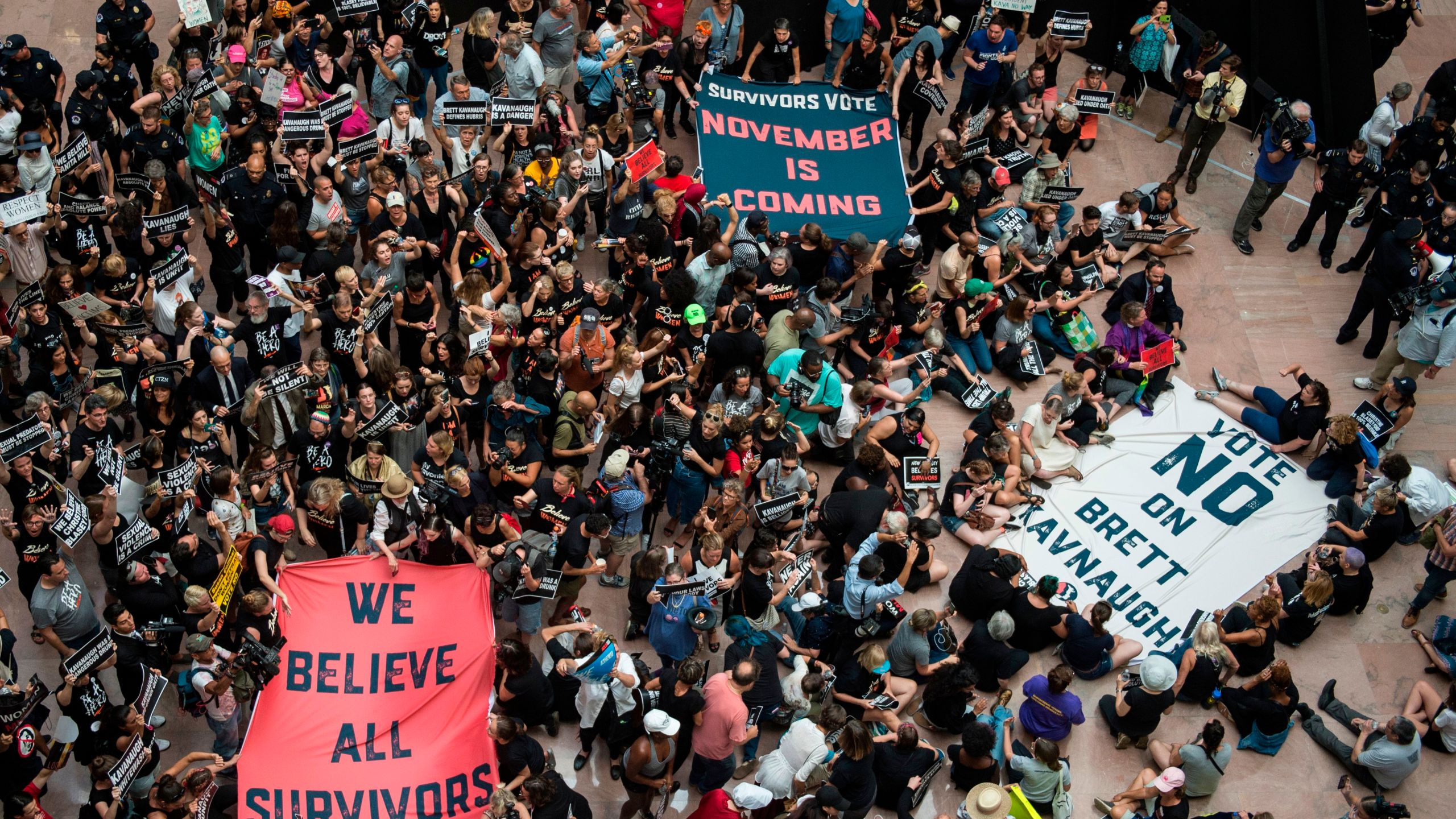 Protesters occupy the Senate Hart building during a rally against Supreme Court nominee Brett Kavanaugh on Capitol Hill, Oct. 4, 2018. (Credit: Andrew Caballero-Reynolds / AFP / Getty Images)