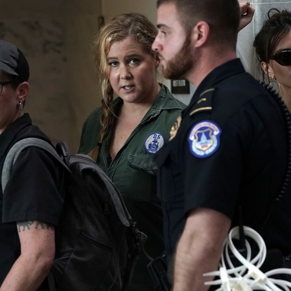 Actresses Amy Schumer and Emily Ratajkowski were among those arrested Thursday in protests over Supreme Court nominee Brett Kavanaugh. (Credit: Alex Wong/Getty Images)