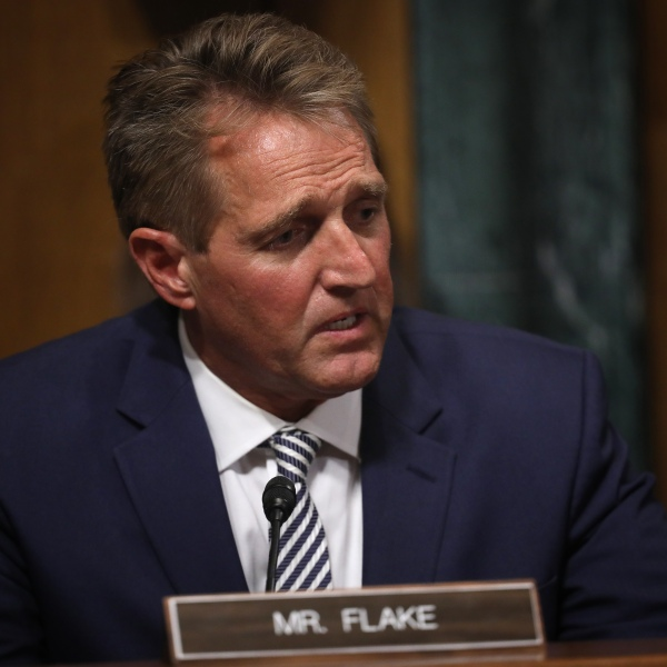 Sen. Jeff Flake (R-AZ) speaks during a meeting of the Senate Judiciary Committee on Sept. 28, 2018. (Credit: Win McNamee/Getty Images)