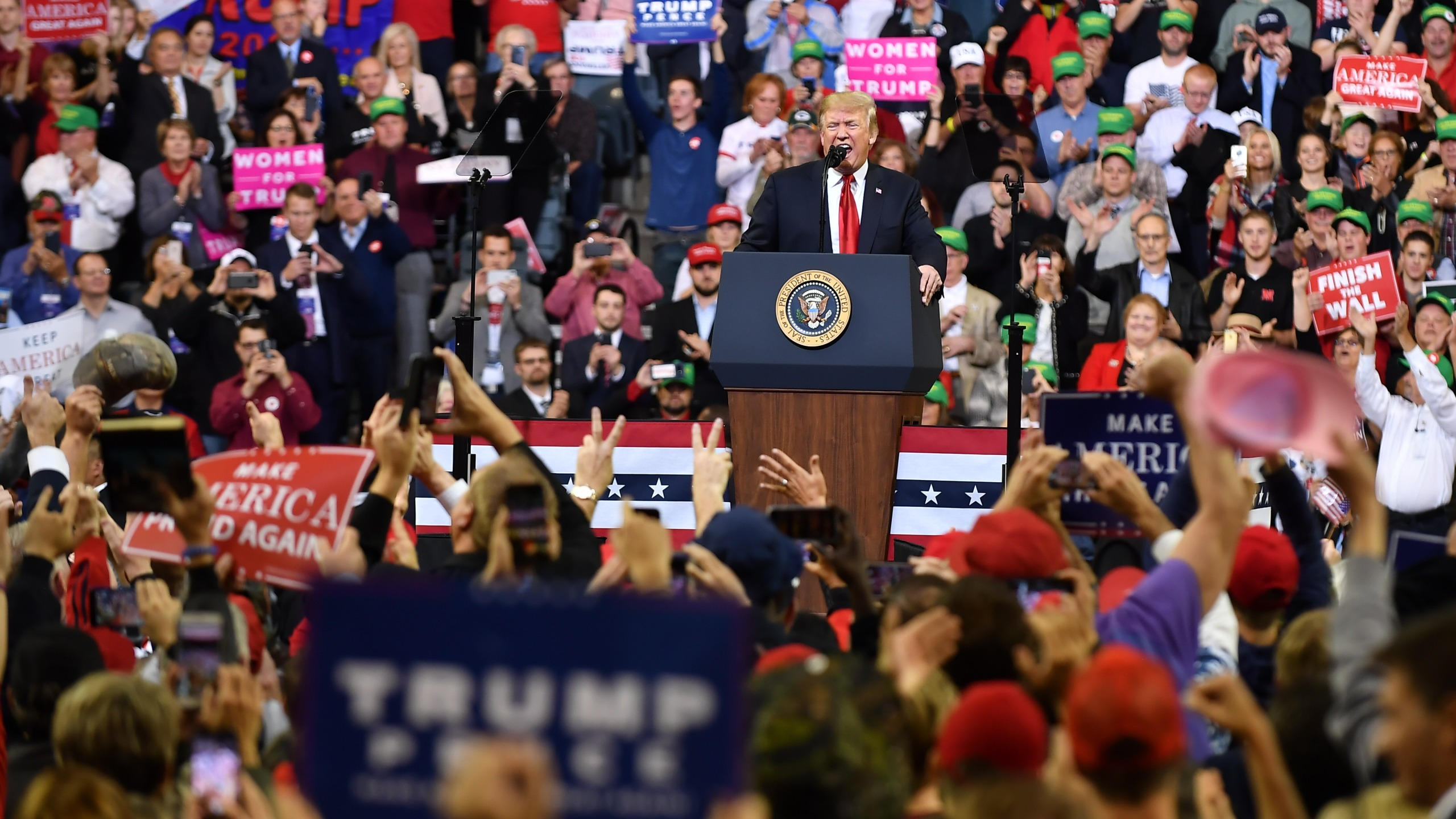President Donald Trump speaks during a rally at the Mid-America Center in Council Bluffs, Iowa, on Oct. 9, 2018. (Credit: Mandel Ngan / AFP / Getty Images)