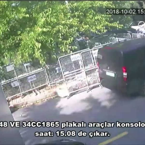 A frame grab on October 10,2018 taken from a police CCTV video made available through Turkish Newspaper Sabah allegedly shows a black van in front of the Saudi consulate in Istanbul on October 2, 2018. (Credit: AFP/Getty Images)