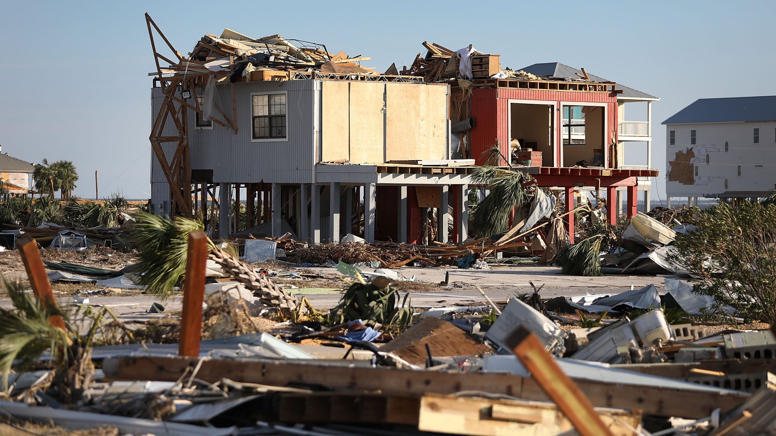 Damaged homes are seen after hurricane Michael passed through the area on October 11, 2018 in Mexico Beach, Florida. (Credit: Joe Raedle/Getty Images)