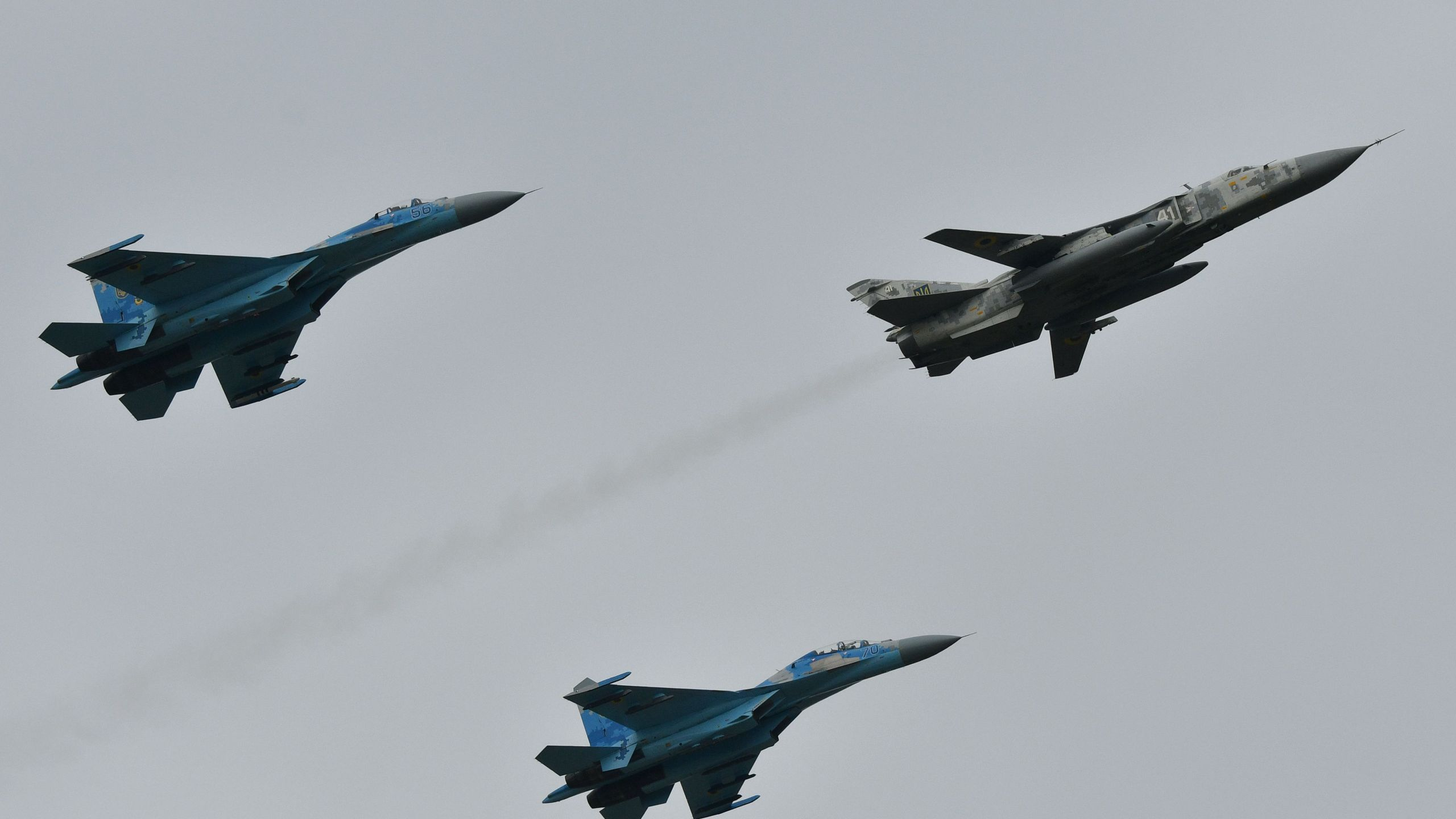 Air force exercises by the United States and other NATO countries take place at the Starokostyantyniv military airbase in Ukraine as part of Clear Sky-2018 on Oct.12, 2018. (Credit: GENYA SAVILOV/AFP/Getty Images)