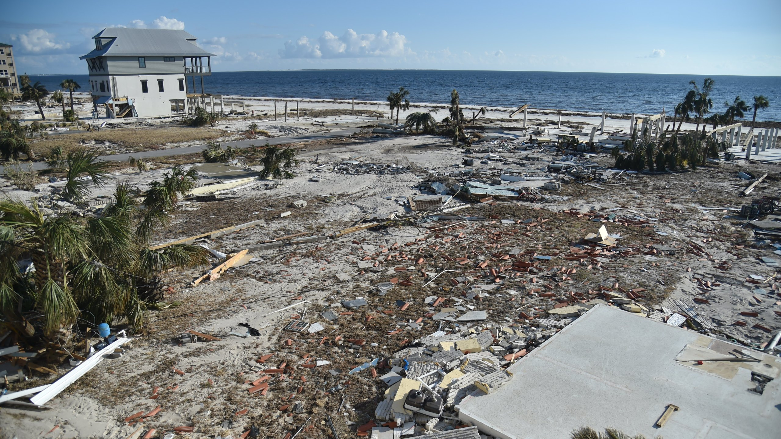 View of the destruction next to a house in Mexico Beach, Florida, on October 14, 2018. (Credit: HECTOR RETAMAL/AFP/Getty Images)