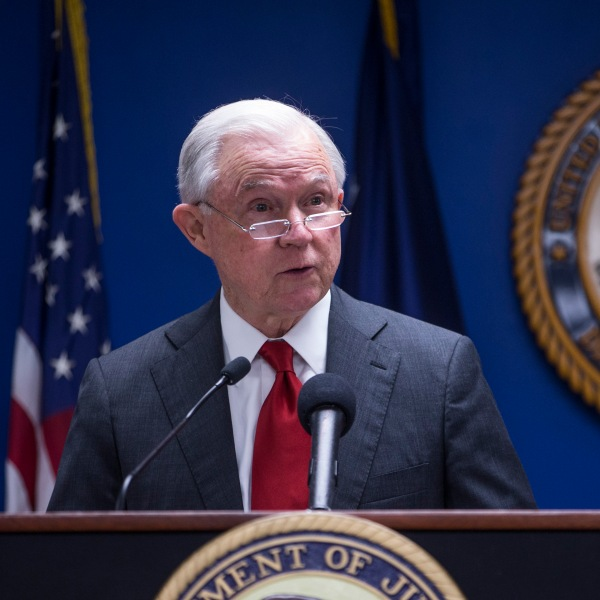 U.S. Attorney General Jeff Sessions speaks during a news conference on efforts to reduce transnational crime at the U.S. Attorney's Office for the District of Columbia on Oct. 15, 2018. (Credit: Zach Gibson/Getty Images)