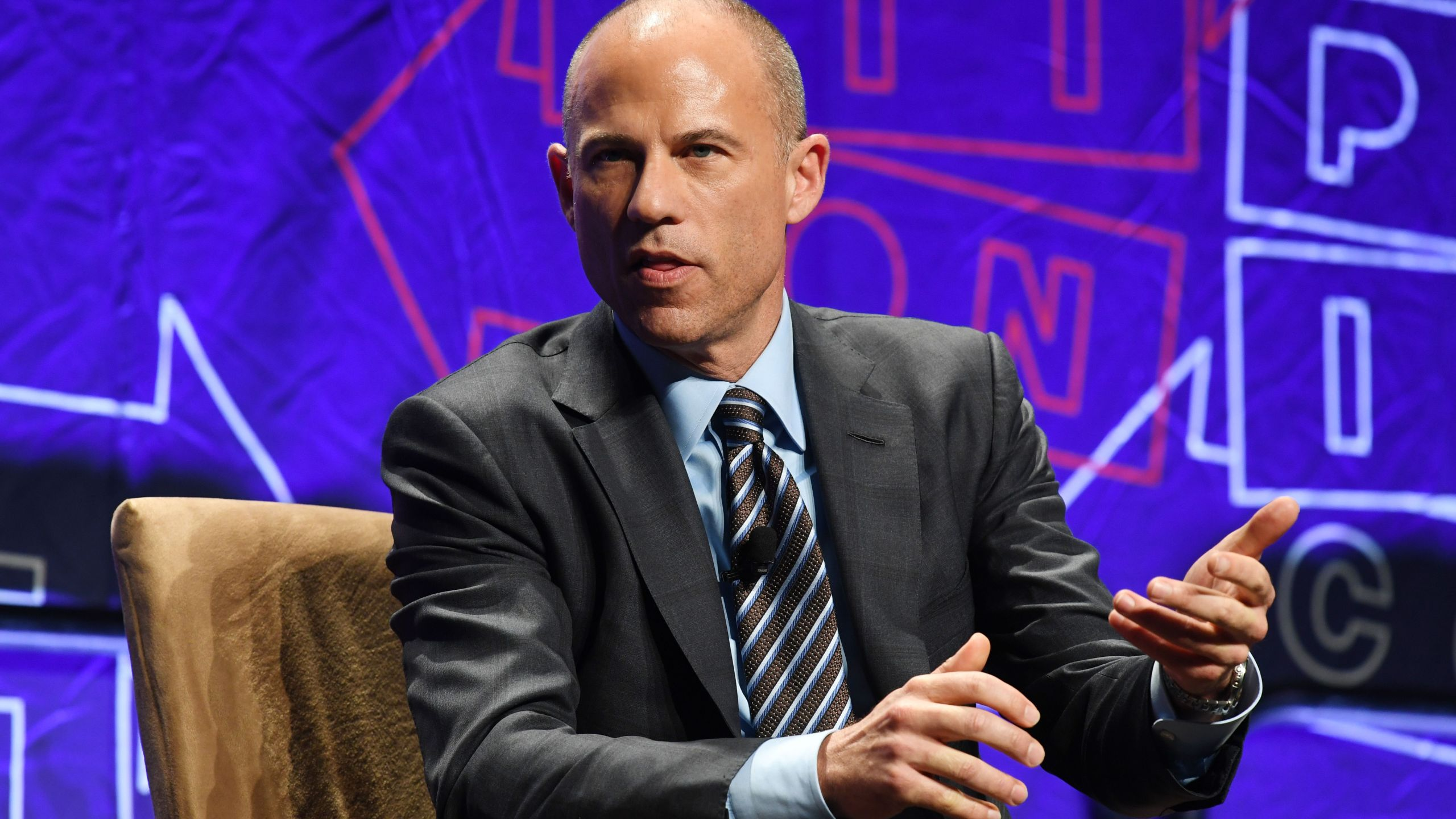 "Attorney Michael Avenatti speaks at the ""How to Beat Trump"" panel at Politicon in Los Angeles on Oct. 20, 2018. (Credit: Mark Ralston / AFP / Getty Images)"