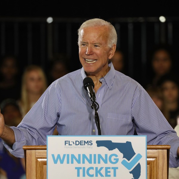 Former Vice President Joe Biden speaks during a campaign rally held at the University of South Florida Campus Recreation Building on Oct. 22, 2018. (Credit: Joe Raedle/Getty Images)