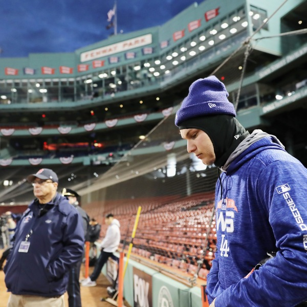 Joc Pederson of the Los Angeles Dodgers looks on during workouts ahead of the 2018 World Series against the Boston Red Sox at Fenway Park on October 22, 2018 in Boston, Massachusetts. (Credit: Elsa/Getty Images)