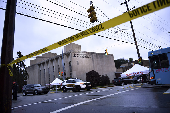 Police tape is viewed around the area on October 28, 2018 outside the Tree of Life Synagogue after a shooting there left 11 people dead in the Squirrel Hill neighborhood of Pittsburgh on October 27, 2018.(Credit: BRENDAN SMIALOWSKI/AFP/Getty Images)