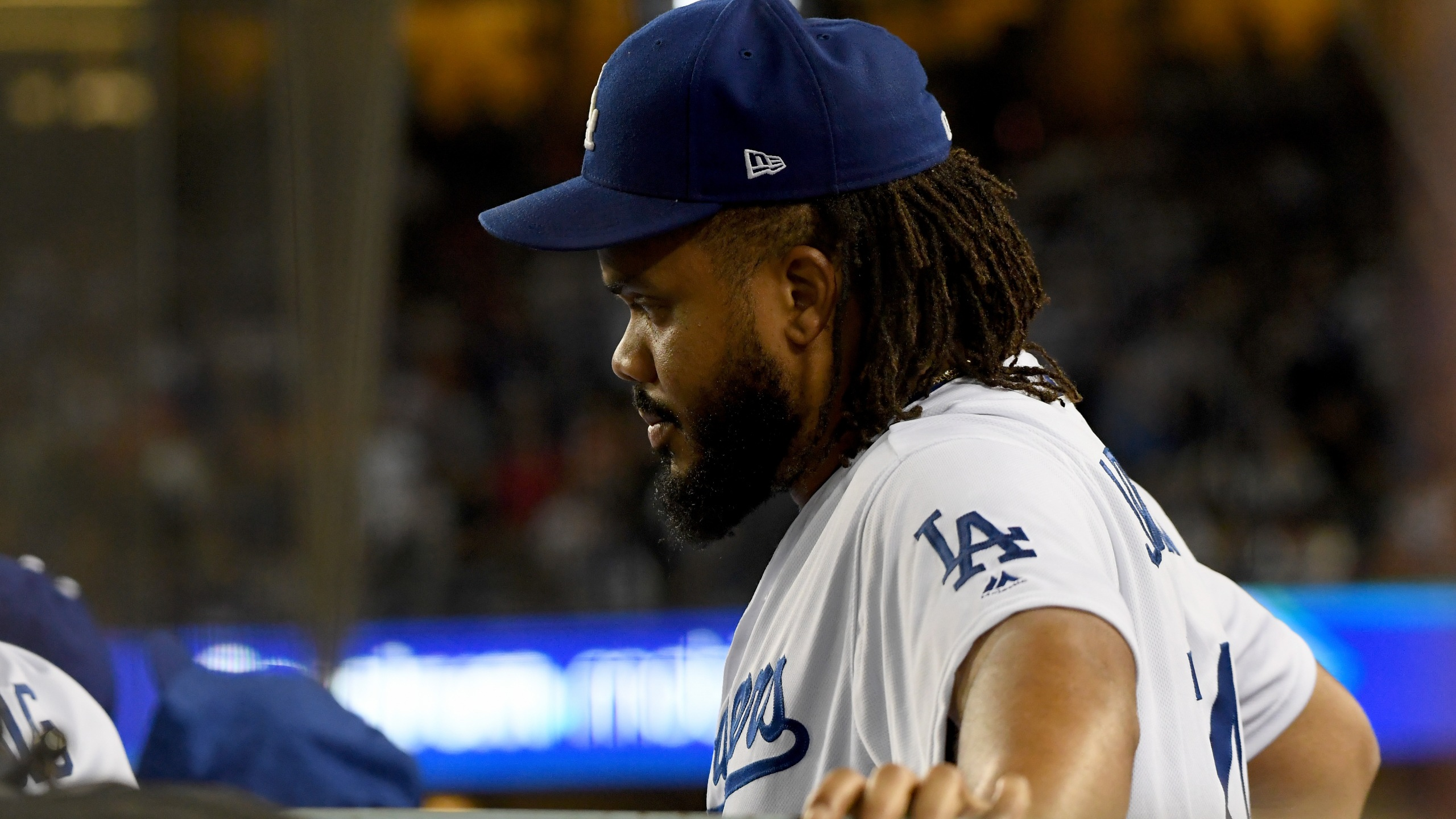 Kenley Jansen #74 of the Los Angeles Dodgers looks on from the dugout during the ninth inning against the Boston Red Sox in Game Five of the 2018 World Series at Dodger Stadium on Oct. 28, 2018 in Los Angeles. (Credit: Harry How/Getty Images)