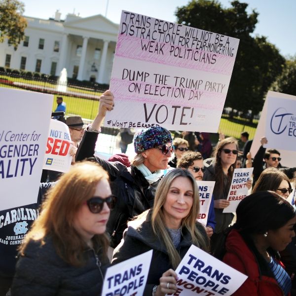 LGBT activists from the National Center for Transgender Equality, partner organizations and their supporters hold rally in front of the White House on Oct. 22, 2018. (Credit: Chip Somodevilla/Getty Images)
