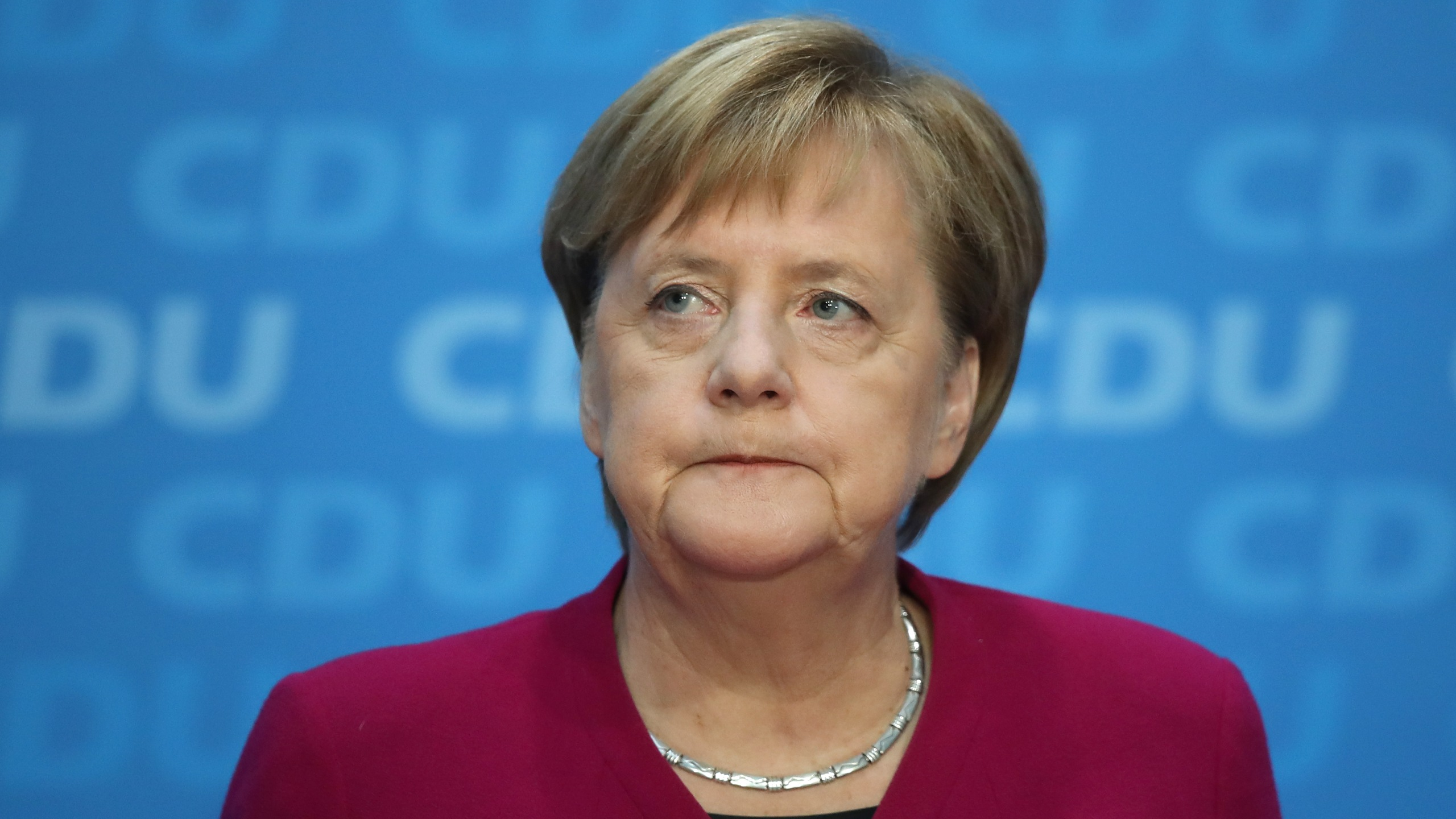 German Chancellor and leader of the German Christian Democrats (CDU) Angela Merkel speaks at a press conference the day after elections in the state of Hesse on Oct. 29, 2018 in Berlin. Merkel announced that she will not seek re-election neither as party chairwoman nor as chancellor. (Credit: Sean Gallup/Getty Images)
