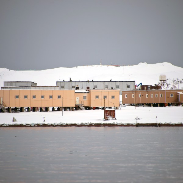 The Russian Bellingshausen Station in Antarctica's King George Island is seen on March 13, 2014. (Credit: VANDERLEI ALMEIDA/AFP/Getty Images)