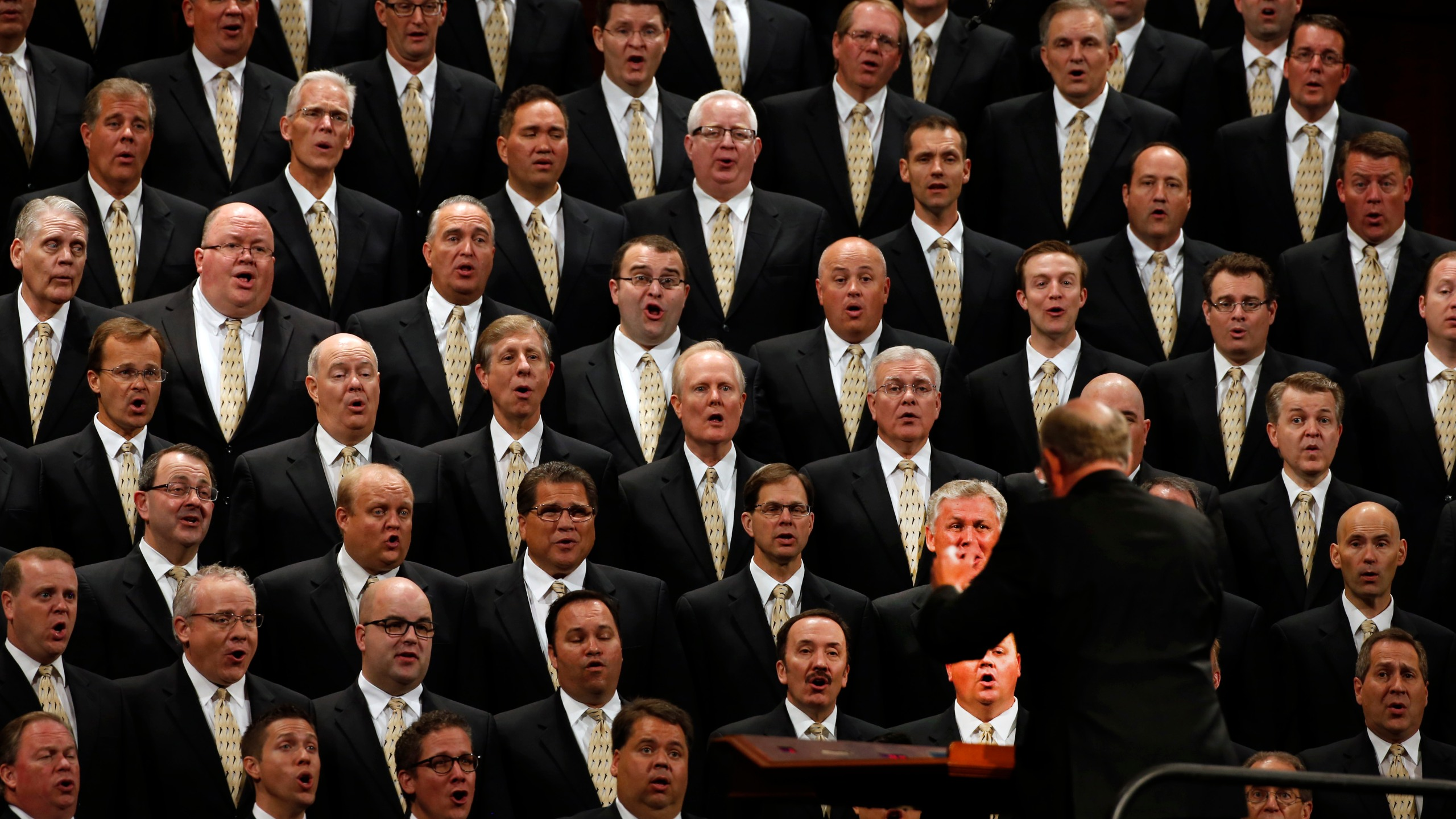 The Mormon Tabernacle Choir, of the Church of Jesus Christ of Latter-Day Saints Thomas sing at the start of the 185th Semiannual General Conference of the Mormon Church on Oct. 3, 2015 in Salt Lake City. (Credit: George Frey/Getty Images)