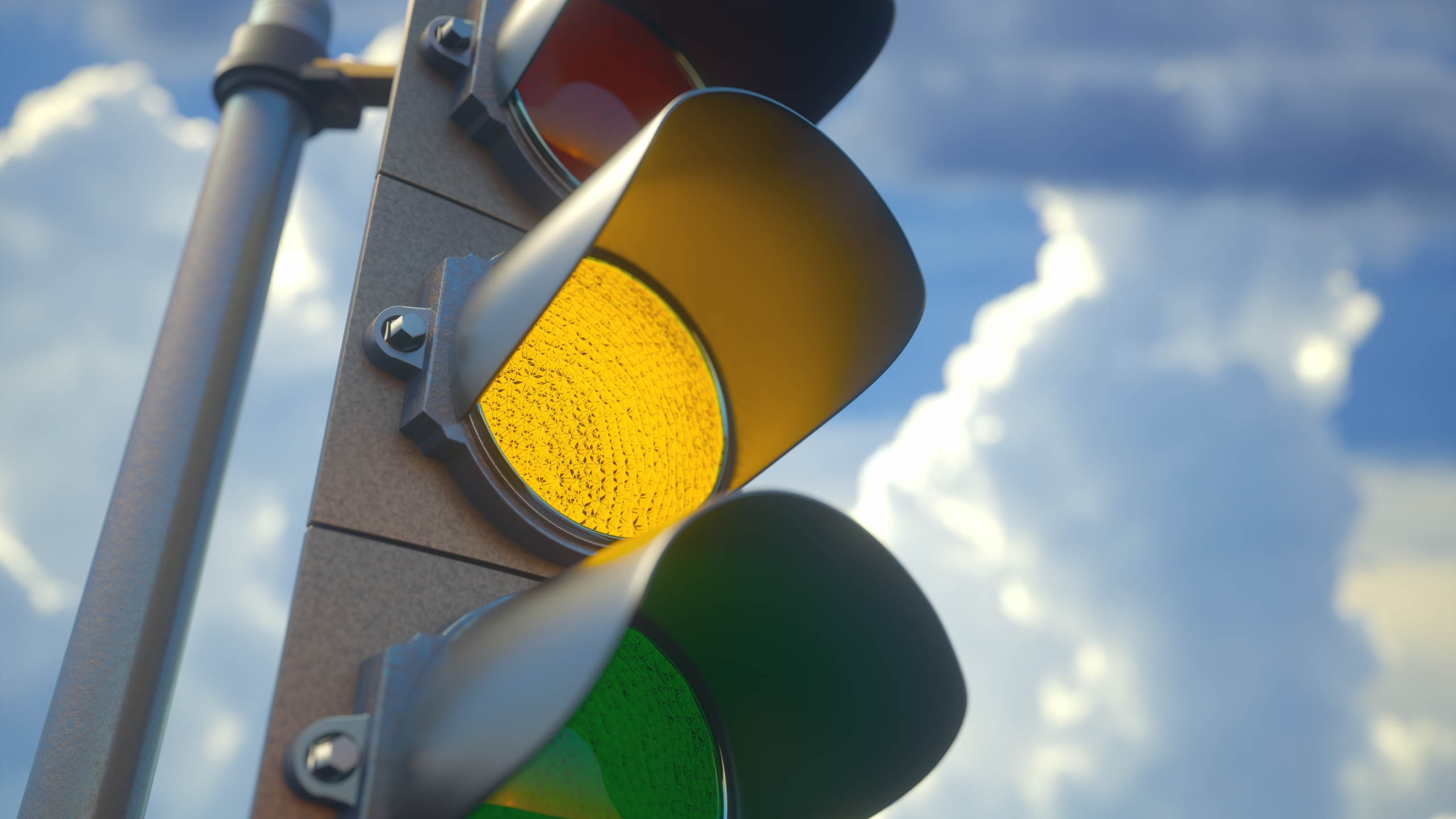A traffic light with a yellow light on is seen in this file photo. (Credit: iStock/Getty Images Plus)