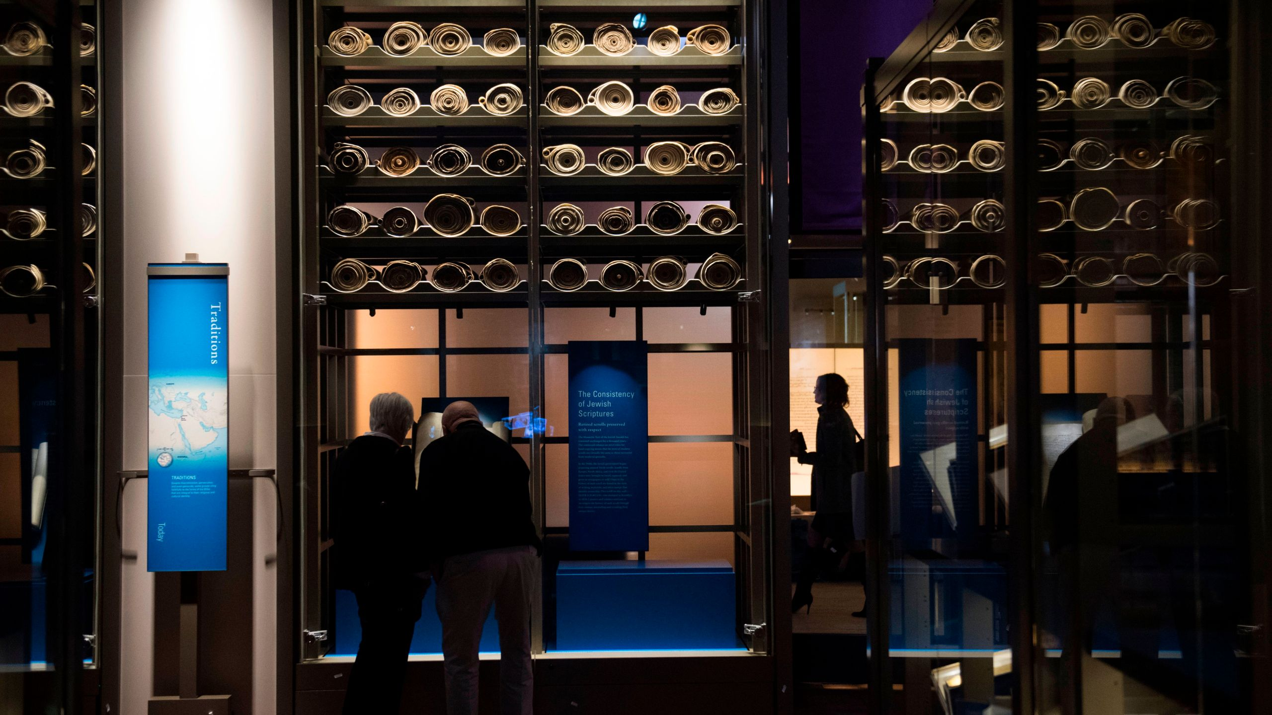 "Visitors tour the ""History of the Bible"" exhibit during a media preview of the new Museum of the Bible in Washington, D.C., Nov. 14, 2017. (Credit: Saul Loeb / AFP / Getty Images)"