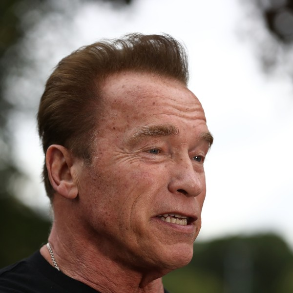 Schwarzenegger speaks to the media as he prepares to start the Run for the Kids charity run as part of the Arnold Sports Festival Australia at the Alexander Gardens in Melbourne, Australia on March 18, 2018. (Credit: Robert Cianflone/Getty Images)