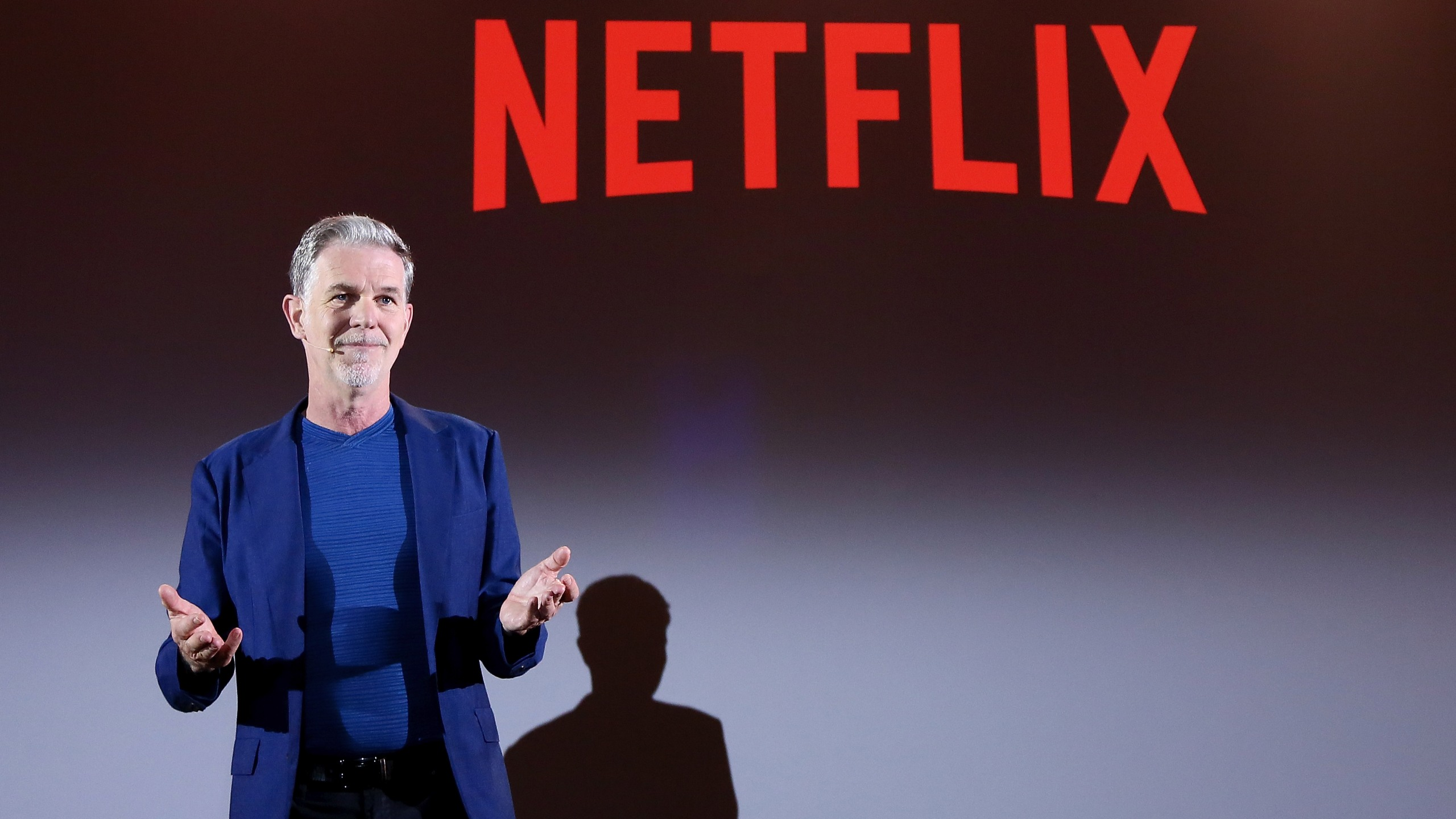 Reed Hastings, CEO of Netflix, is seen at a panel presentation in April 2018. (Credit: Ernesto S. Ruscio/Getty Images for Netflix)