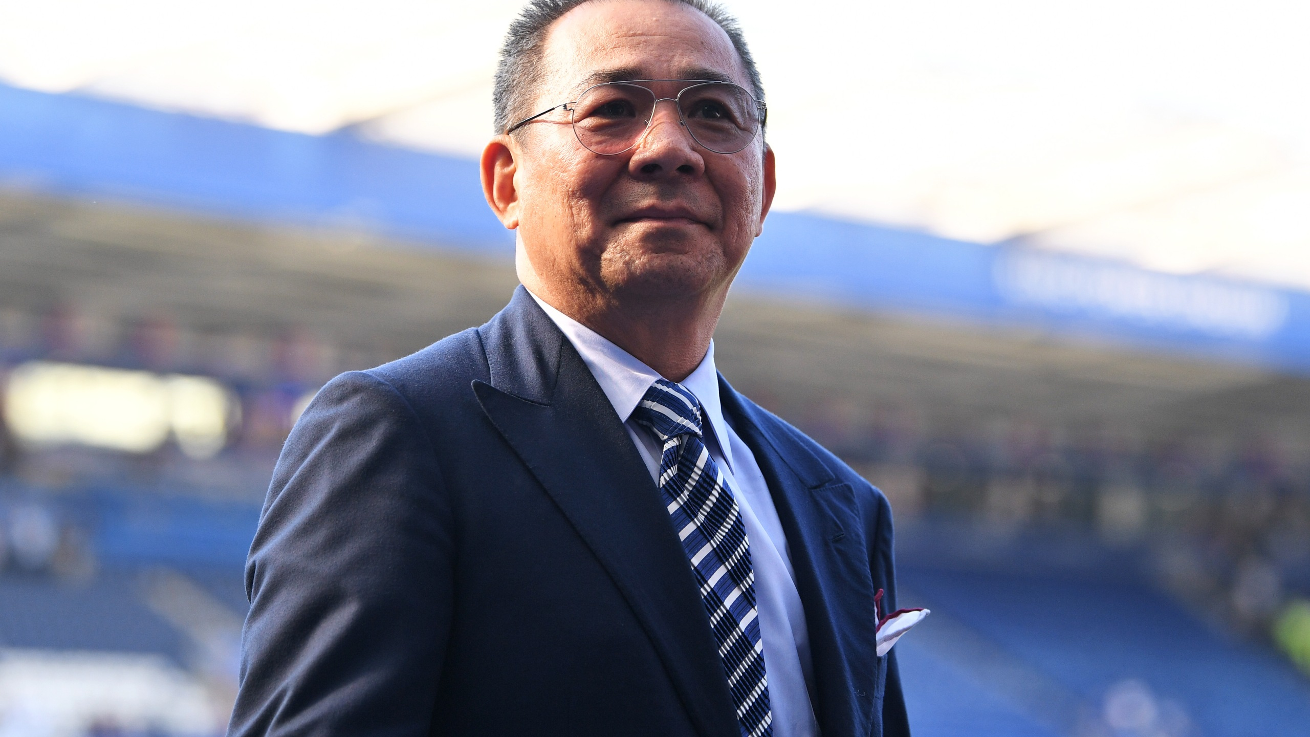 Vichai Srivaddhanaprabha looks on following the Premier League match between Leicester City and West Ham United at The King Power Stadium on May 5, 2018 in Leicester, England. (Credit: Michael Regan/Getty Images)