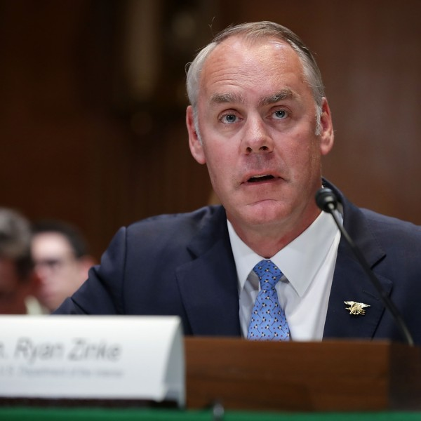 U.S. Interior Secretary Ryan Zinke testifies before the Senate Appropriations Committee's Interior, Environment, and Related Agencies Subcommittee in the Dirksen Senate Office Building on Capitol Hill May 10, 2018 in Washington, DC. Zinke testified about his department's FY2019 funding request and budget. (Photo by Chip Somodevilla/Getty Images)
