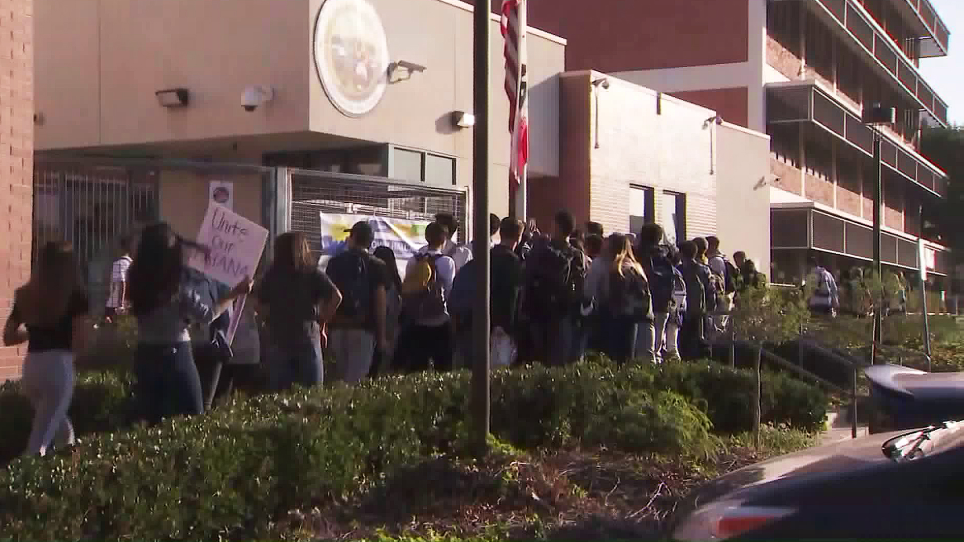 Hoover High School students stage a walkout on Oct. 29, 2018. (Credit: KTLA)
