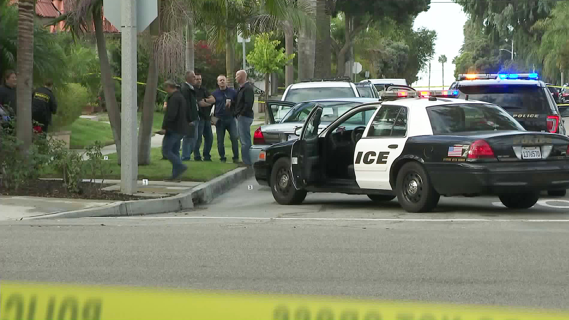An investigation is underway in Huntington Beach following an officer-involved shooting on Oct. 11, 2018. (Credit: KTLA)