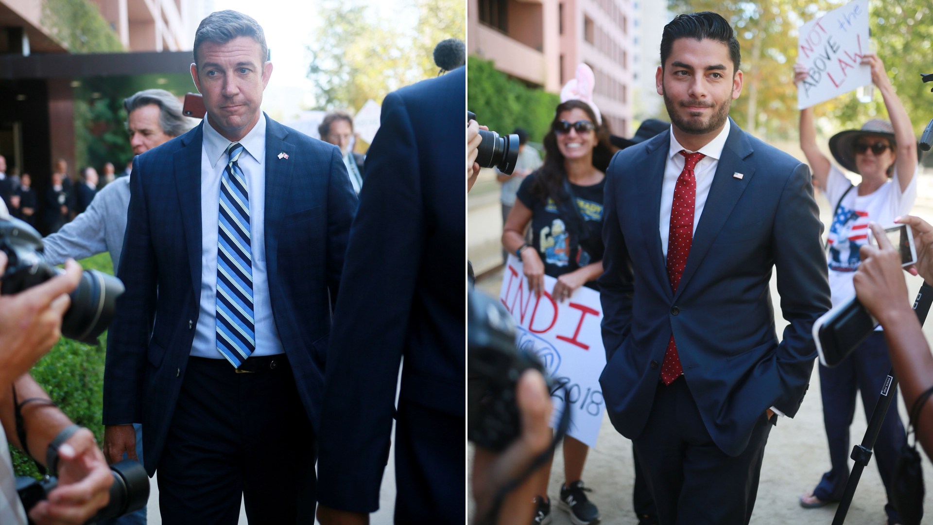 At left, Rep. Duncan Hunter is seen leaving a federal courtroom in San Diego after being arraigned, and at right his opponent, Ammar Campa-Najjar, speaks to reporters outside the courthouse, on Aug. 23, 2018. (Credit: Sandy Huffaker / Getty Images)