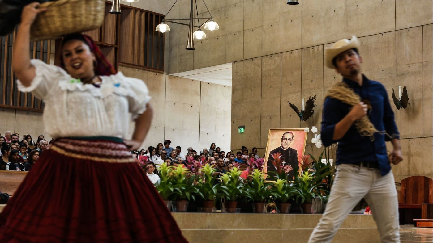 Folkloric dancers perform at a mass at the Cathedral of Our Lady of the Angels in downtown Los Angeles, on Oct. 14. 2018, celebrating the sainthood of slain Salvadoran Archbishop Oscar Romero and others. (Credit: Maria Alejandra Cardona / Los Angeles Times)