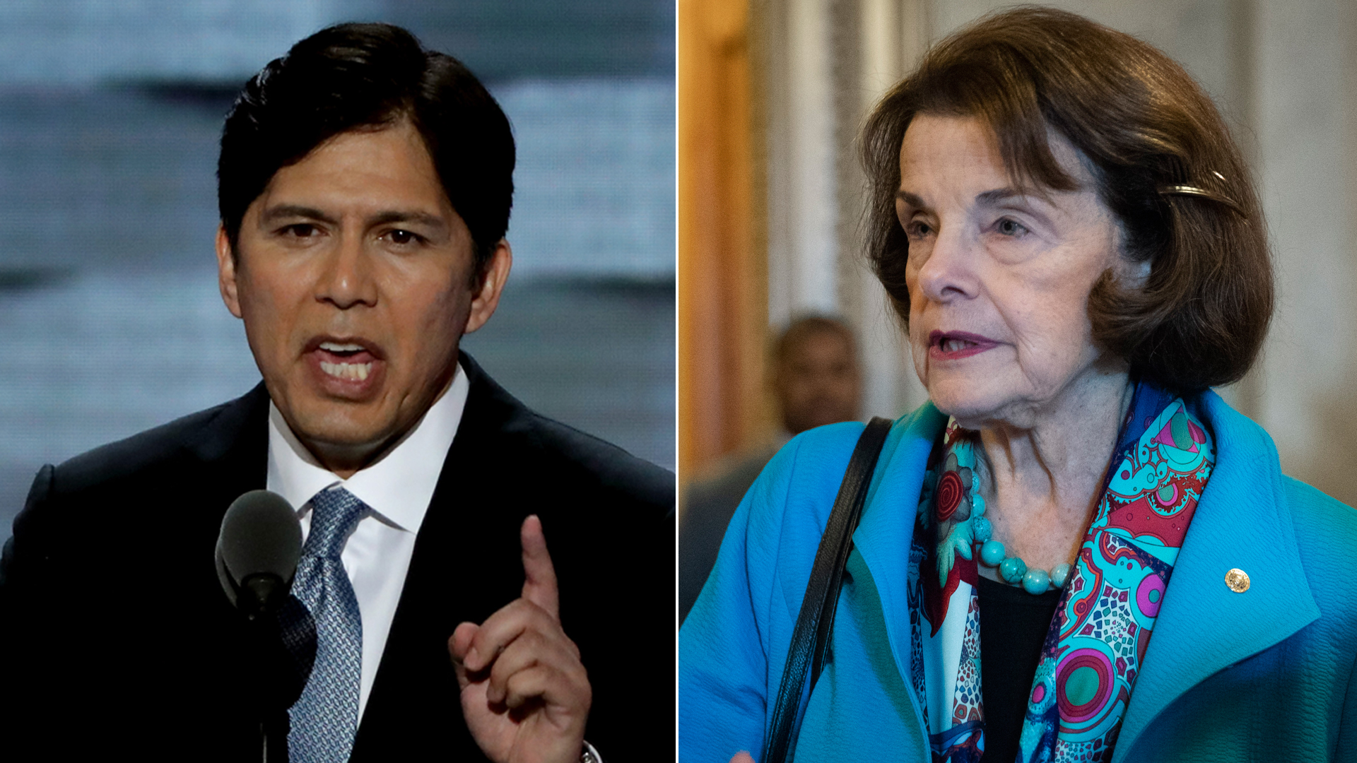 At left, State Sen. Kevin de León delivers a speech at the Democratic National Convention in Philadelphia on July 25, 2016; at right, Sen. Dianne Feinstein talks to reporters as she exits the Senate floor on Oct. 6, 2018. (Credit: Alex Wong / Drew Angerer / Getty Images)